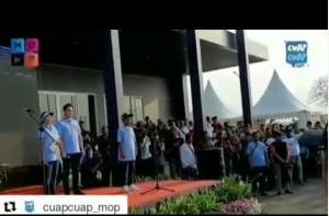 Betrand Peto Bawakan Lagu Indonesia Raya di Hadapan Gubernur Anies Baswesdan
